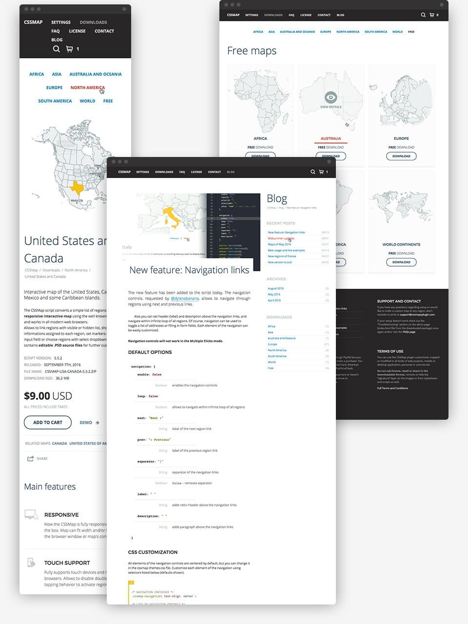 CSSMap plugin responsive design examples