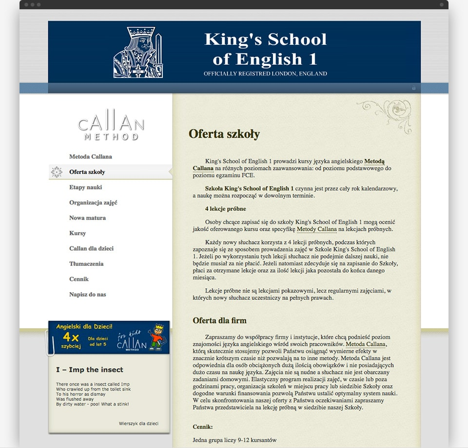 King's School of English 2006 home page